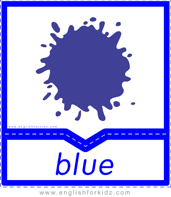 Printable colors flashcards - blue - ESL printables
