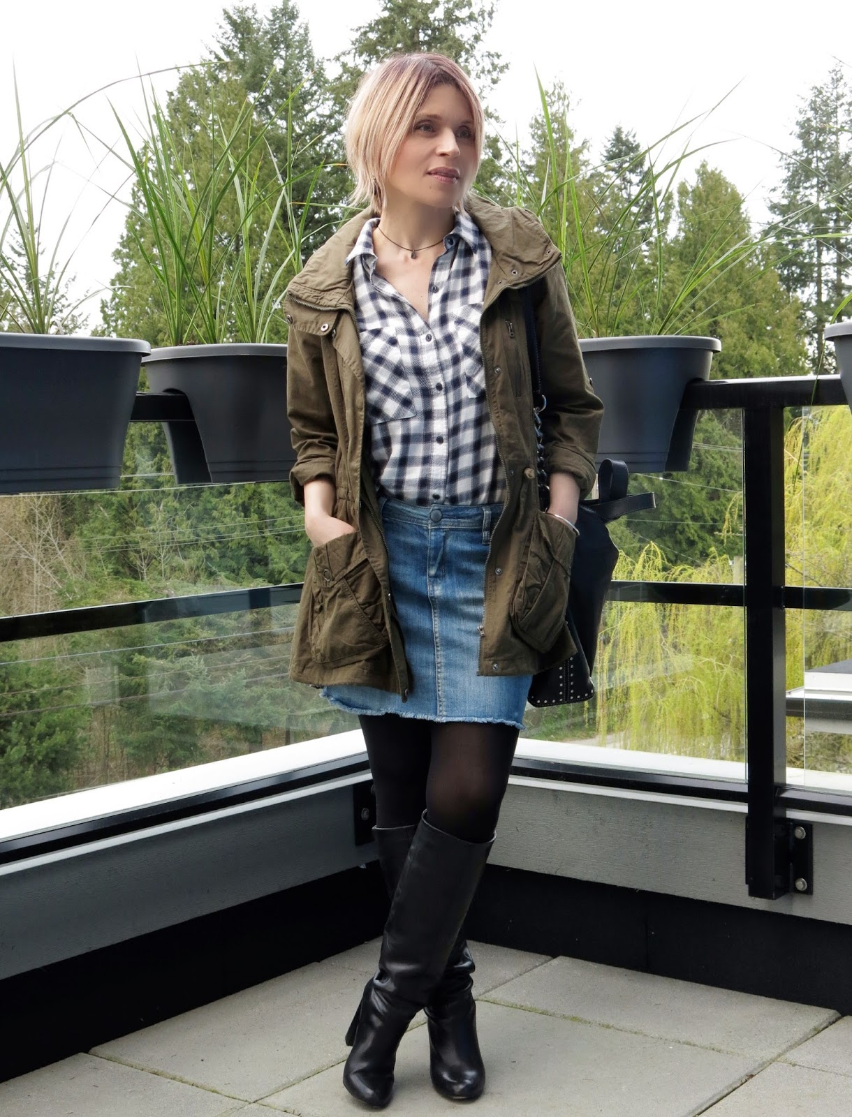 Crowning glory:  denim miniskirt with tights, tall boots, a plaid shirt, and an army jacket