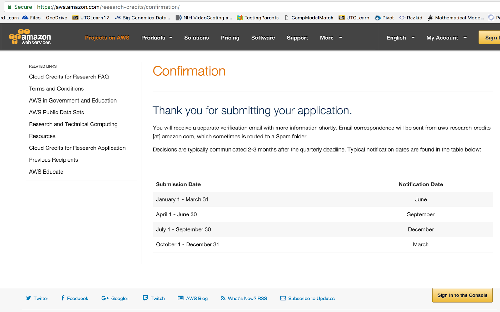 Open Notebook: AWS research grant application