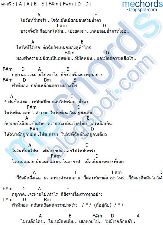 คอร์ดเพลง-ฤดูฝน-PARADOX