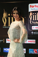 Sonal Chauhan in a stonework Floor Length Silver Designer Gown at IIFA Utsavam Awards March 2017 028.JPG