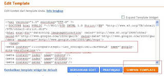 Meta Verification Google di Blogger