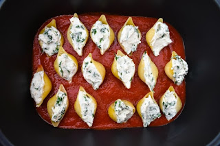 giant pasta shells stuffed with cream cheese and spinach
