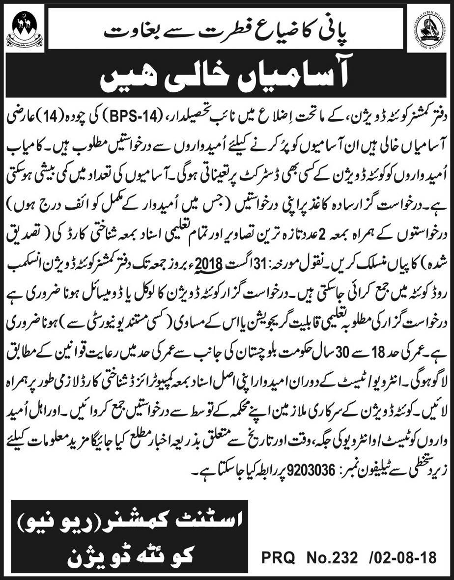 Naib Tehsildar Jobs in Balochistan Revenue Authority Quetta August 201