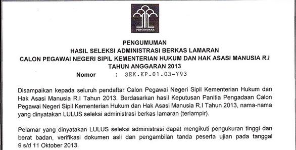 Pendaftaran Cpns Banten 2013 Lowongan Pt Pln Dis Jabar Banten Pusat Info Bumn Cpns 2016 Pengumuman Administrasi Cpns Kemenkumham 2013 Cpnskemenkumhamgo