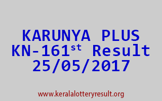 KARUNYA PLUS Lottery KN 161 Results 25-5-2017