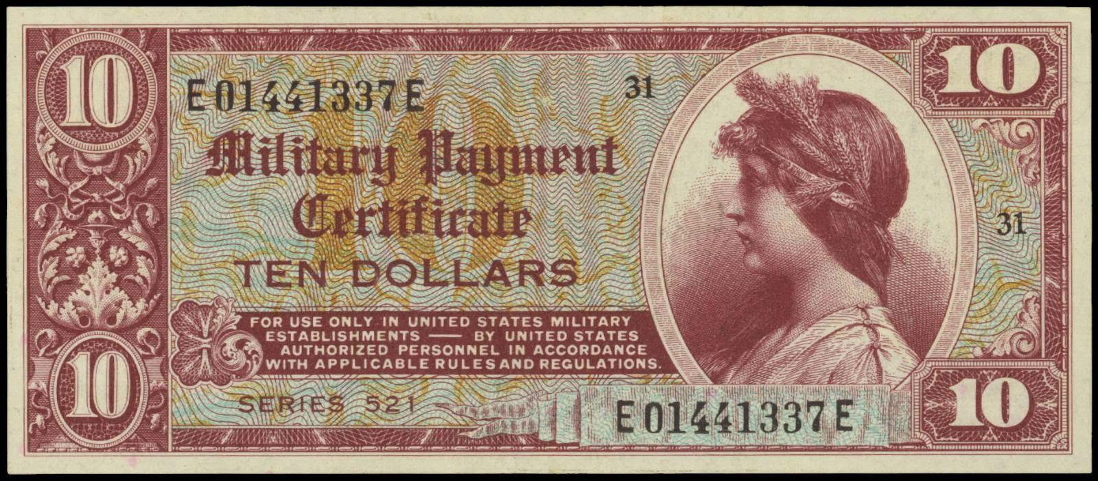 Military Payment Certificate 10 Dollars Mpc Series 521world