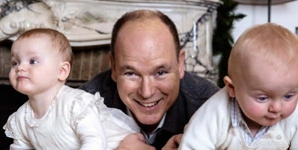 A beautiful photo of Prince Albert of Monaco and his twins Princess Gabriella and Prince Jacques.