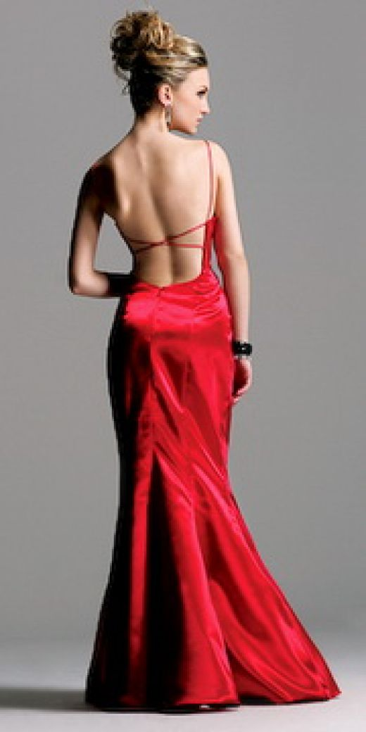 Fashion And Styles: Red Backless Prom Dress