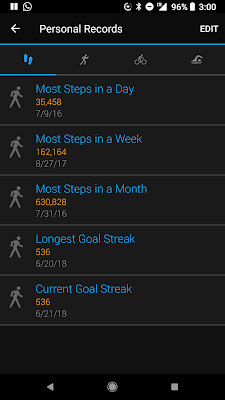 A screenshot of my walking streak on Garmin's app.