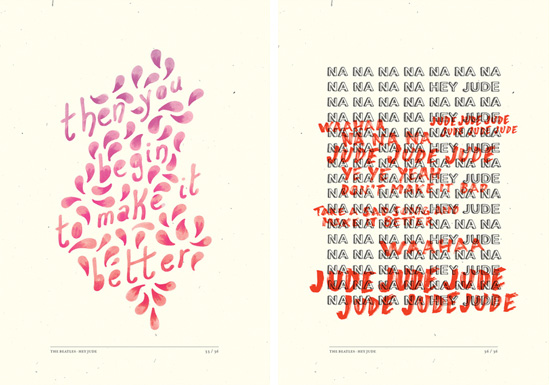 Hey Jude typography - Pantone marker illustrated lyrics by Stefano Agabio