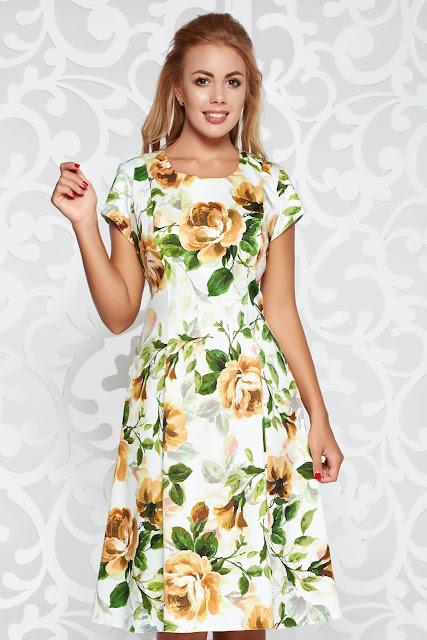 rochie office cu imprimeu floral
