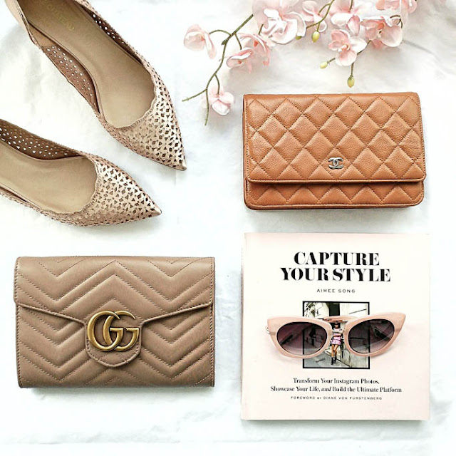 Comparing a Beige Chanel Caviar Quilted Wallet on a Chain with a Nude Gucci Marmont Matelasse Mini Bag Wallet on a Chain