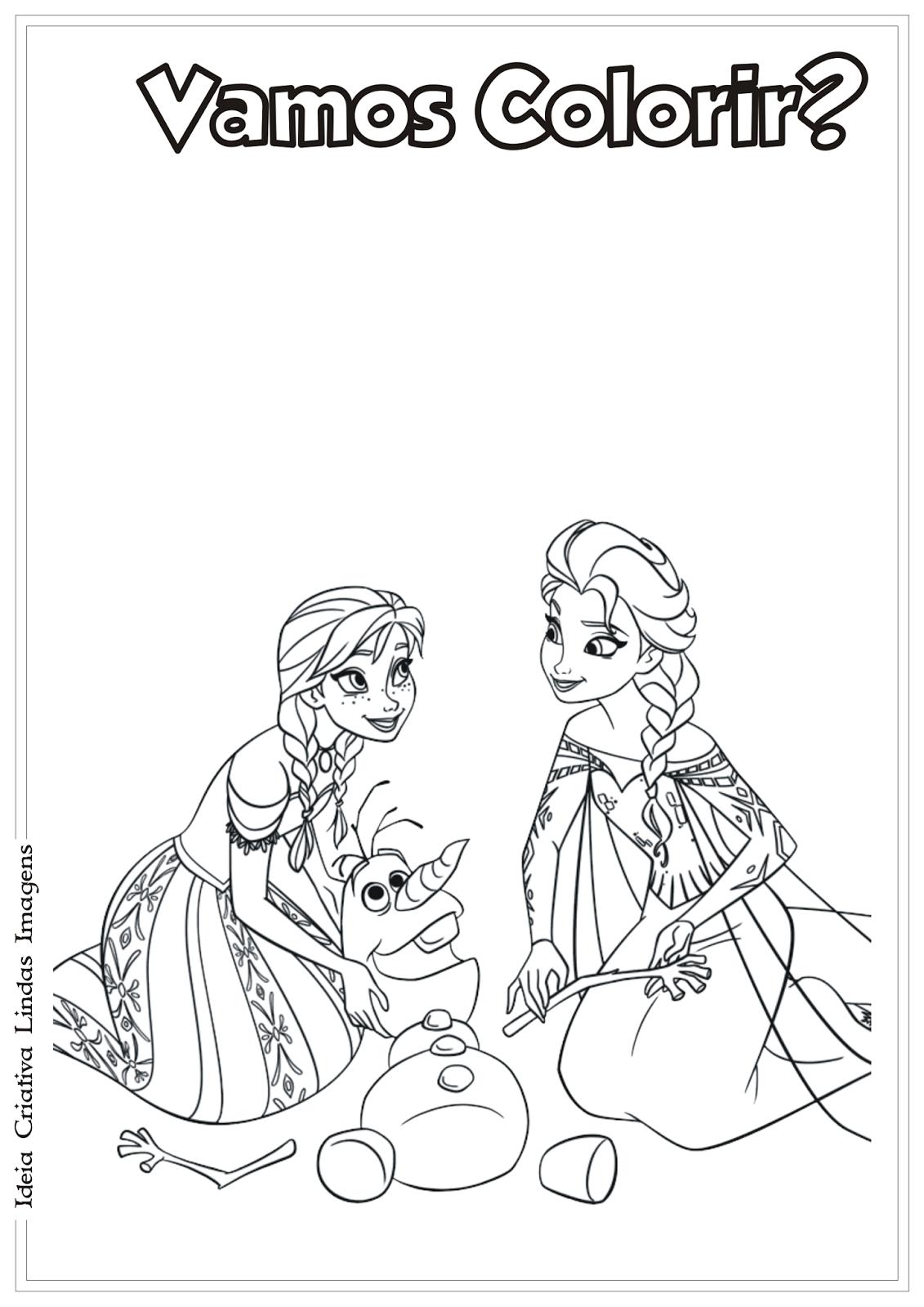 Anna Elsa E Olaf Frozen Desenho Para Colorir