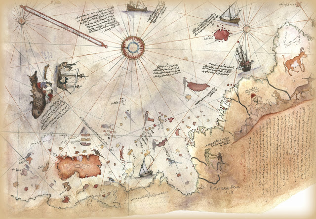 Mapa Piri Reis. Fragmento de un mapa elaborado por el almirante y cartógrafo otomano Piri Reis en 1513. Su nivel de detalle y precisión es impresionante y desconcierta a los científicos.