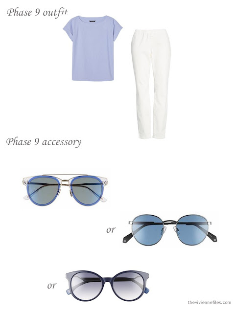 adding sunglasses to a 4 by 4 Wardrobe in Navy with floral accents
