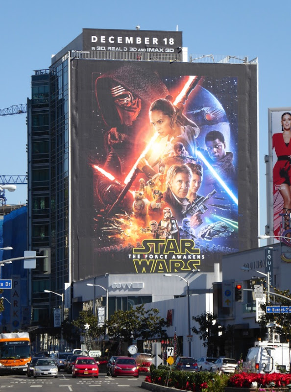 Giant Star Wars The Force Awakens movie billboard