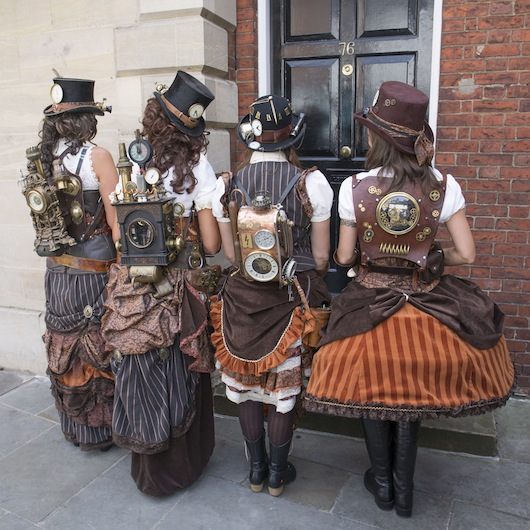 How to put together a steampunk group costume with matching and coordinating clothing and props