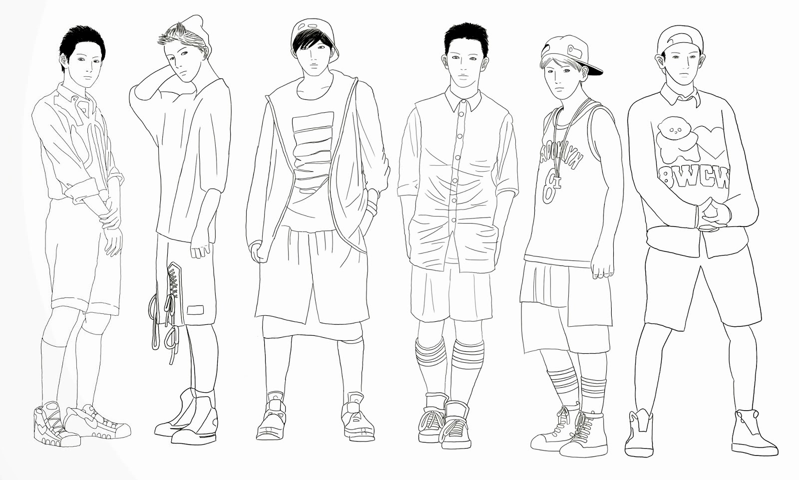 exo coloring pages   ILICarrieDoll: Exo-K Growl Linearts