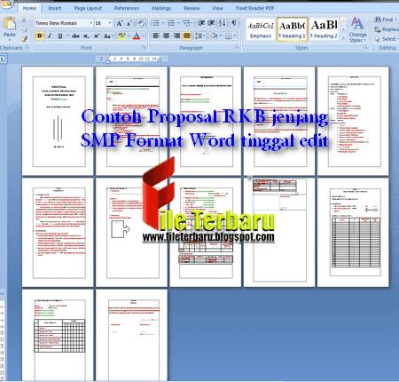Contoh Proposal RKB jenjang SMP Format Word tinggal edit