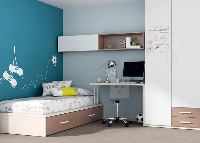 dormitorio juvenil con cama nido blanca con cama nido mesa de de cajon contenedor y estanteria encima y comoda
