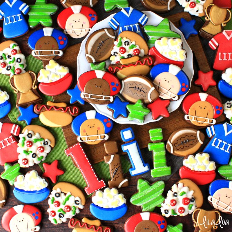 Super Bowl decorated sugar cookies