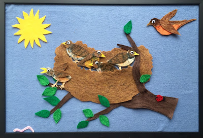 Five Little Birds, Five Baby Robins, springtime feltboard
