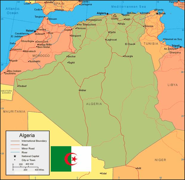 Peta Aljazair