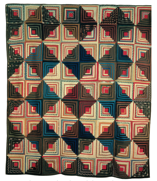 3D Diamonds Log Cabin Quilt Free Pattern
