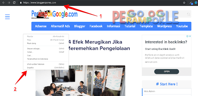 membuka menu inspeksi di google chrome