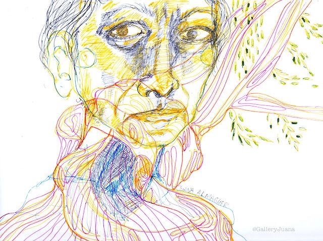 self-portrait and tree, gallery juana