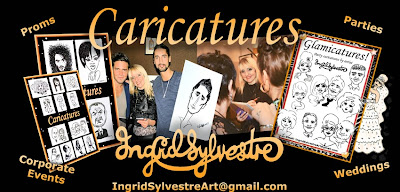 Ingrid Sylvestre Wedding & Party Caricatures - Glamicatures - Durham, North East UK and further afield, Parties, Proms, Weddings, Corporate Events Caricaturist.