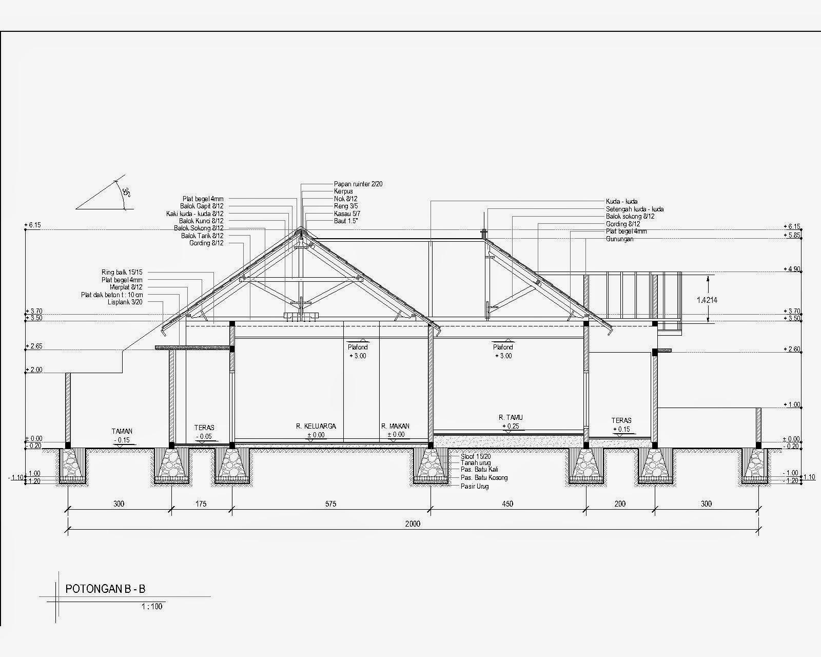 contoh gambar denah dan potongan rumah 1