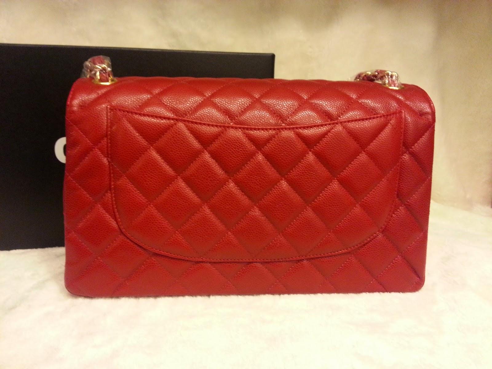 0c86e84798f5 Deal Treasure: Chanel Classic Jumbo Red Caviar Leather Double Flap ...