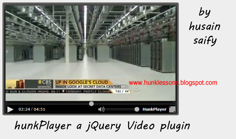 hunklessons: hunkPlayer js a jQuery video plugin Created by