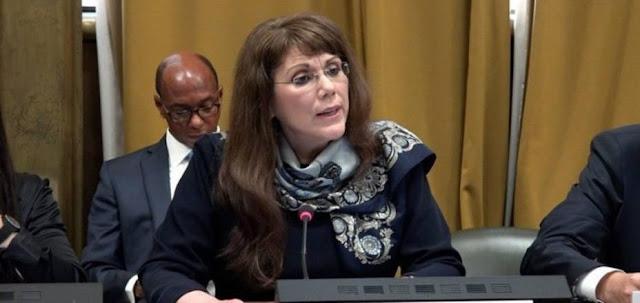 """Ginebra.– La subsecretaria de Estado de EE. UU. para Control de Armamento, Yleem Poblete, acusó hoy a Rusia, China y Cuba de apoyar al """"exrégimen"""" de Nicolás Maduro en la represión de la democracia en Venezuela."""
