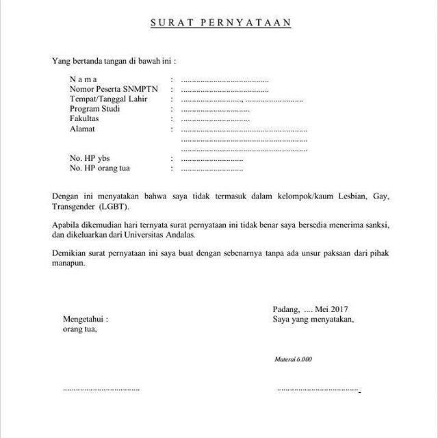 Viral Surat Pernyataan Bukan Kaum Lgbt Untuk Mahasiswa Baru
