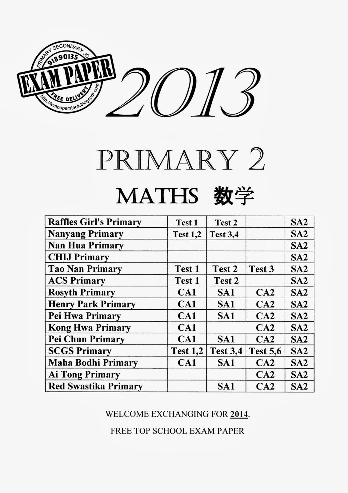 Exam Paper EXAM PAPER Exam Paper : Primary 2 ( Special