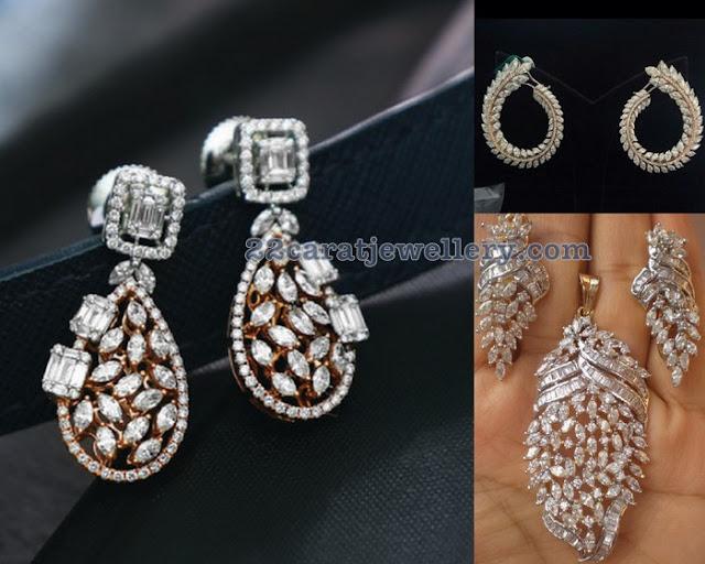 Three Stylish Diamond Earrings by Talwar Sons Jewellers