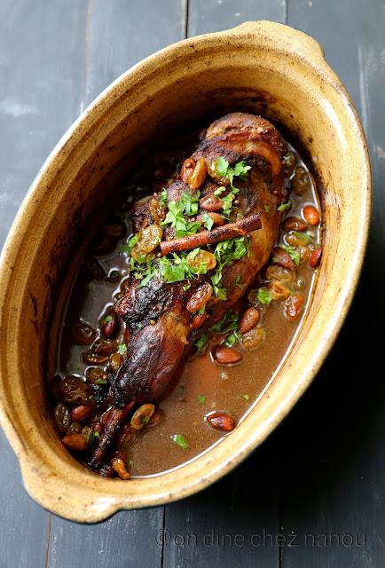 gigot d'agneau , épices , cannelle , mélasse grenade , coriandre, cuisson four