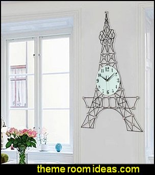 Iron European Style Eiffel Tower Shape Battery Mute Wall Clock