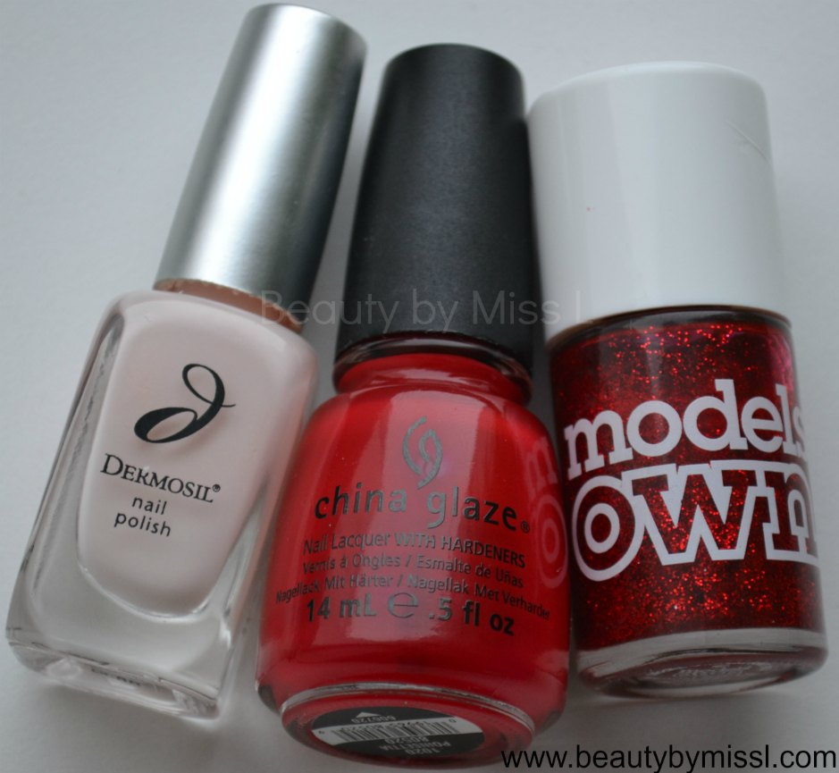 Dermosil Seashell, China Glaze Poinsettia, Models Own Scarlet Sparkle