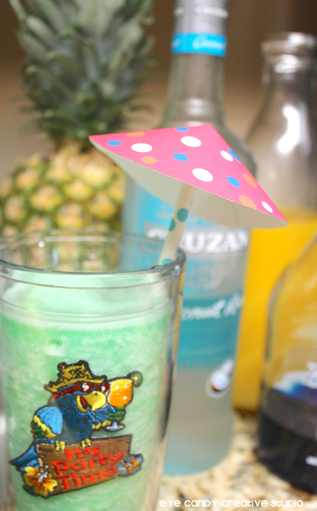 drink umbrella, drink recipe, rum, pineapple, coconut, orange juice