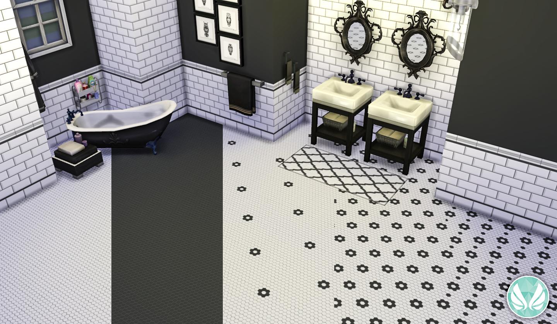 Black and white hexagon floor tile