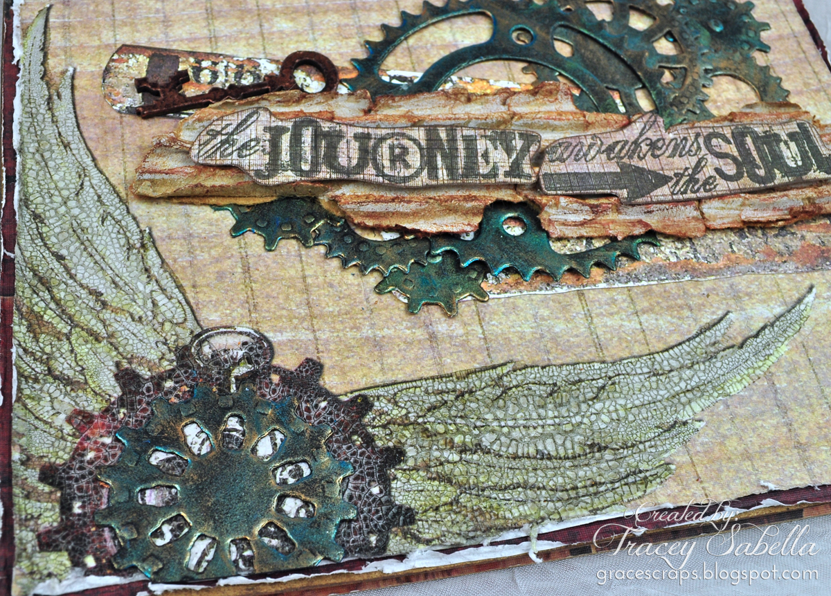 Grungy mixed media card by Tracey Sabella for Donna Salazar; Sprightly Sprockets