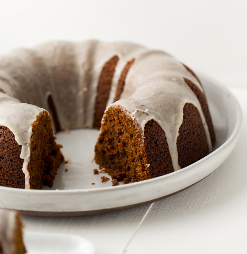 Vegan Gingerbread Cake with Vanilla Bean Coconut Glaze