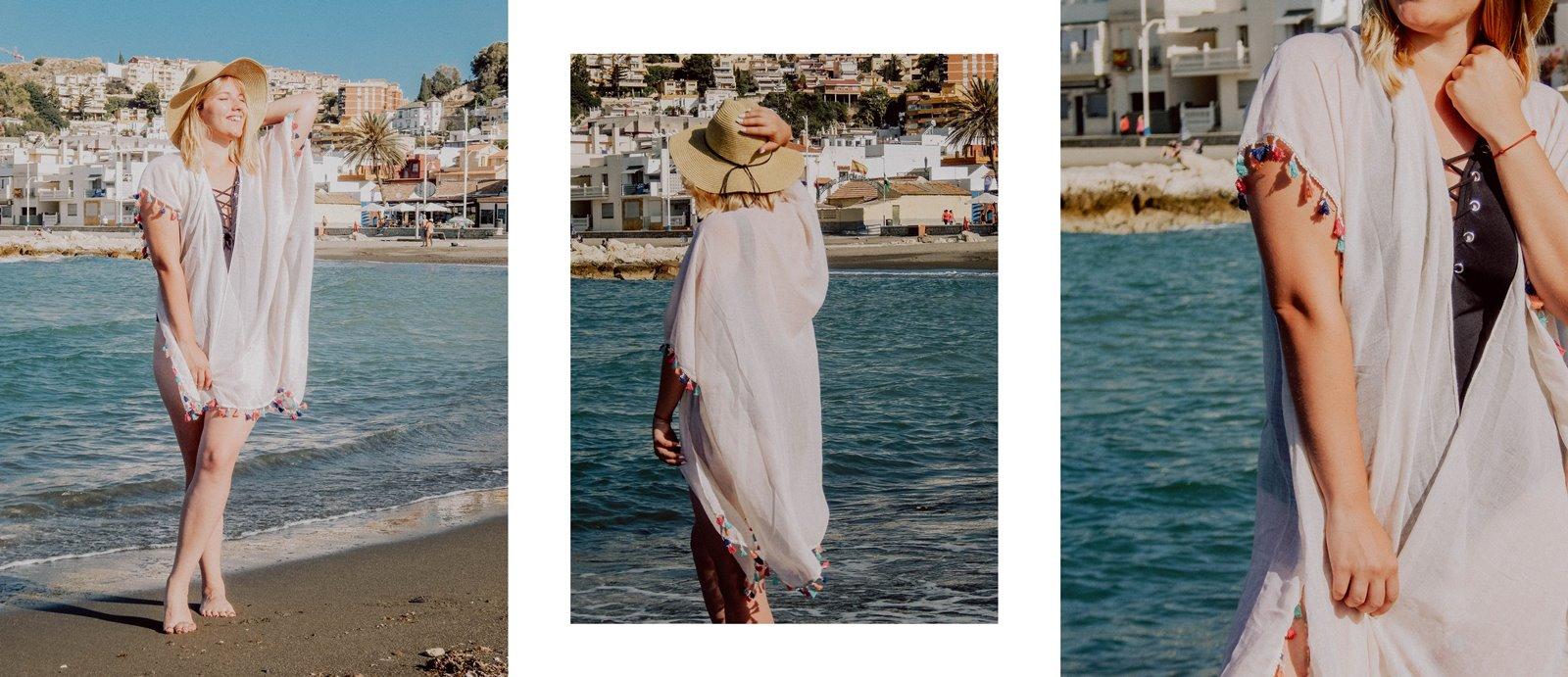 6A szaleo wakacje w maladze malaga jak spędzić wakacje co zobaczyć stylizacja na plaże pareo składany kapelusz słomkowy modne dodatki na wakacje na plażę z frędzlami z pomponami hiszpania polski kraj język ceny outfit
