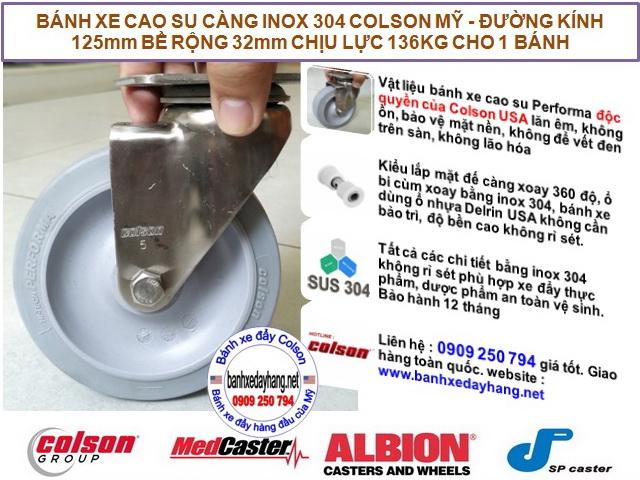 Bánh xe xoay 360 cao su càng inox 304 Colson 5 inch | 2-5456-444 banhxedaycolson.com