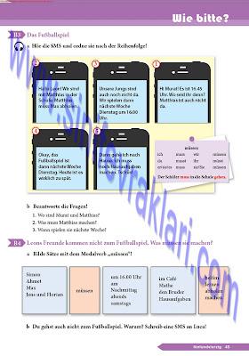 9. Sınıf Almanca A1.1 Ders Kitabı Cevapları Sayfa 45