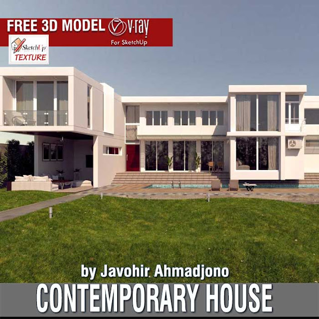 free sketchup 3d model contemporary house by Javohir Ahmadjono